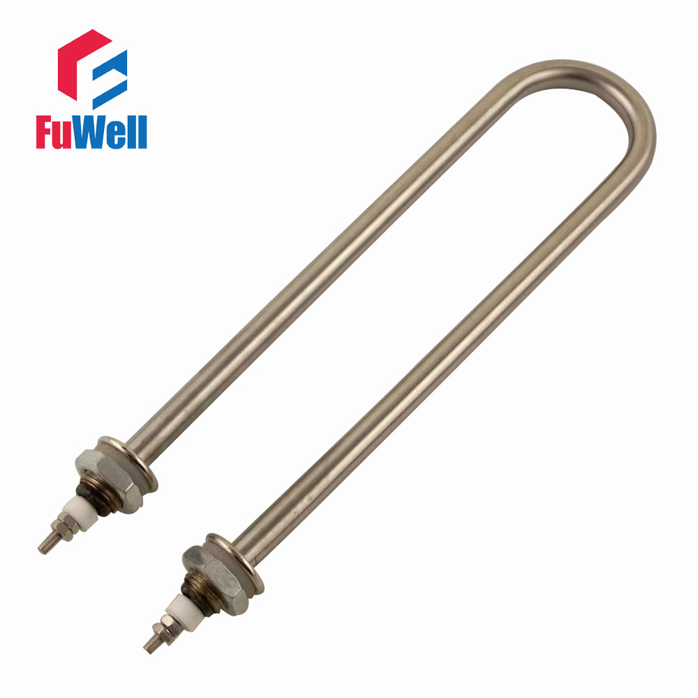 U Shaped Iron Head Stainless Steel Tube Heating Element 220V 1.5KW M16 Mounting Thread Electric Water Heating Tube Heater