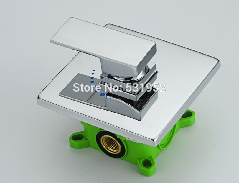 High Quality Square Solid Brass Concealed Install Single Handle Control Mixer Valve for Shower Faucet Complete Valve