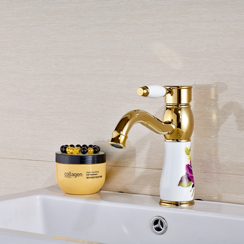 Uythner Deck Mounted Solid Brass Vanity Golden Flower Bathroom Faucet Mixer Tap Single Hole