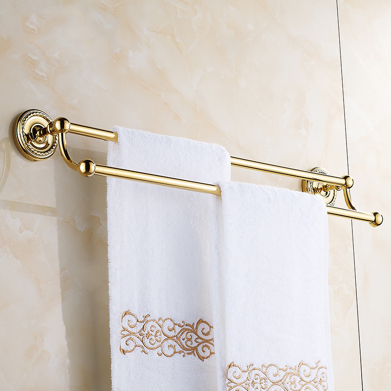Classical Brass Double Towel Rod European Gold/Black/Bronze Towel Bar 60cm Length Wall Mounted Bathroom Hardware Sets
