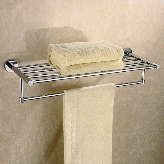 Bathroom Chrome Finished towel holder, 60cm 304 Stainless steel towel rack, Toilet Double Towel Rails Bars Wall Mounted Hardware