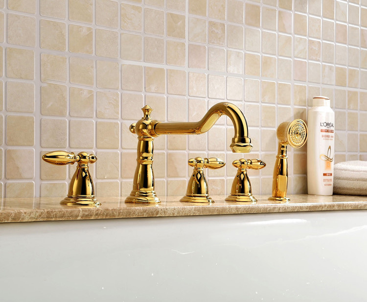Free ship 5 pcs widespread Roman tub shower Faucet bathtub Mixer tap gold clour Deck mounted