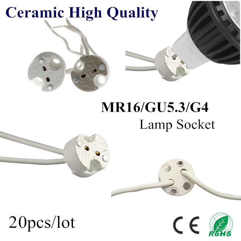 20X MR16 Holder GU5.3 G4 Ceramic Lamp Base Socket LED CFL Halogen Light lamp holder with Wire Connector