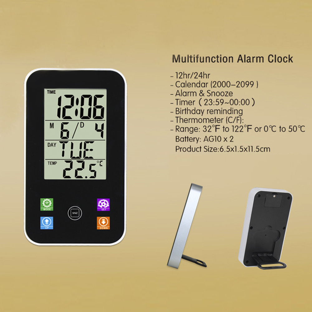 Weather Station Touch Screen Indoor Outdoor Humidity Clock Temperature Sensor Hygrometer Digital Wireless Room Thermometer