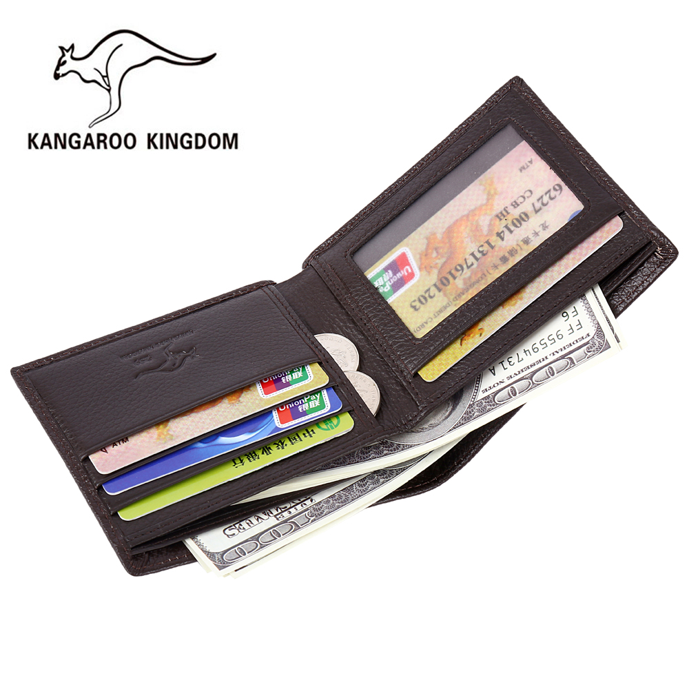 Kangaroo Kingdom Famous Brand Men Wallets Genuine Leather Short Design Purse Business Male Pocket Wallet Credit Card Holder