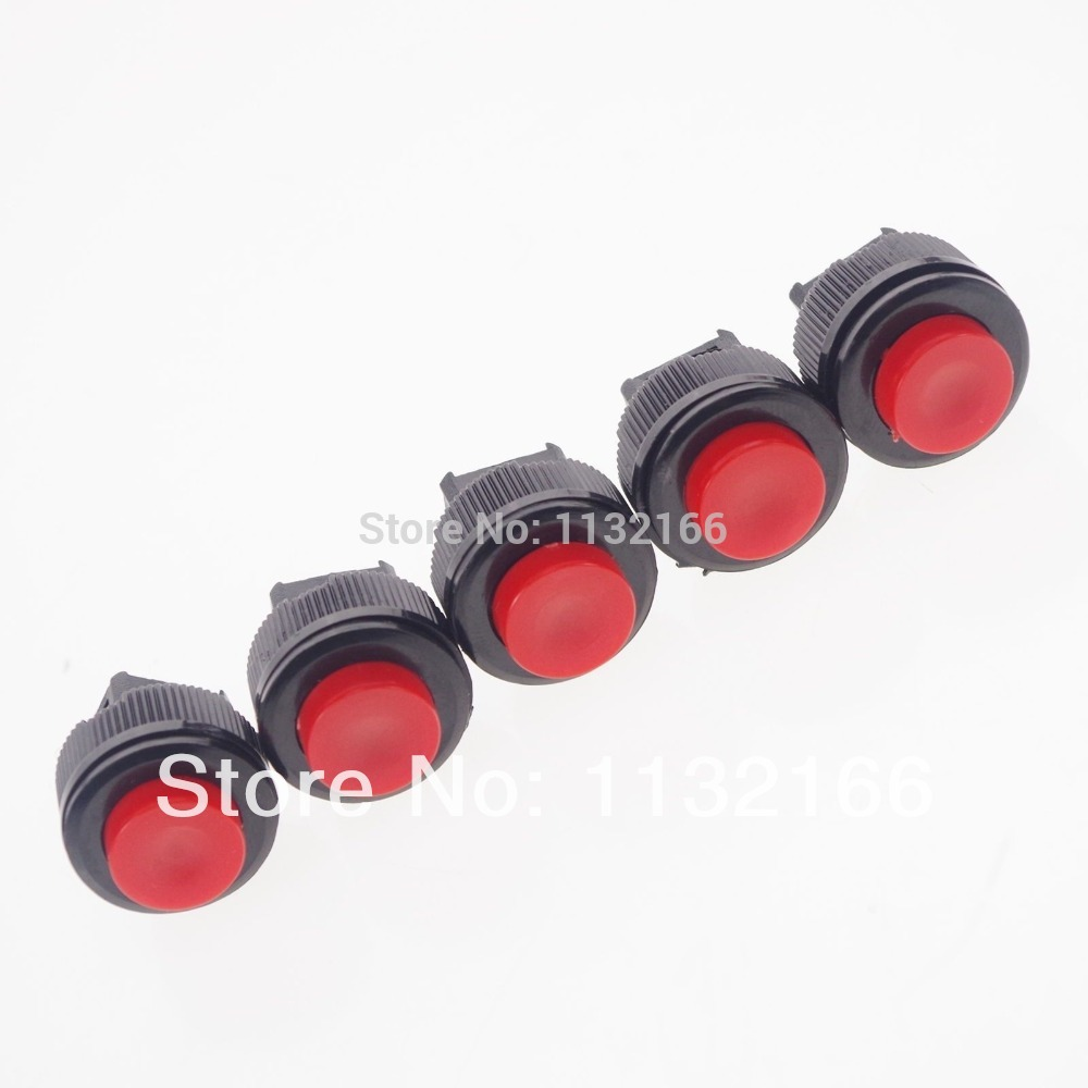 Red 2 Pin Hole 16mm SPST OFF-(ON) 1A 125VAC NO Maintained Push Button Switch