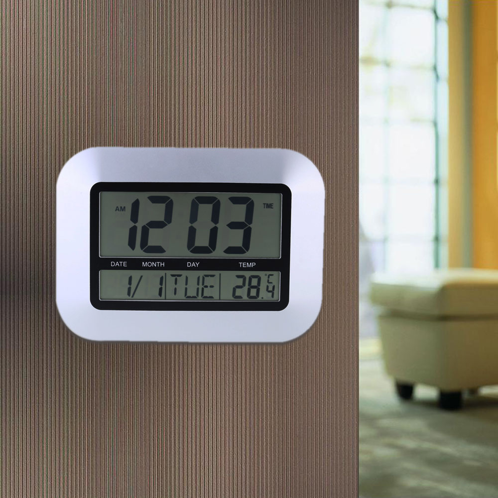 High-accuracy lcd clock temperature Sliver Color Electronic Temperature Meter Calendar Digital Wall Clock Alarm Clock