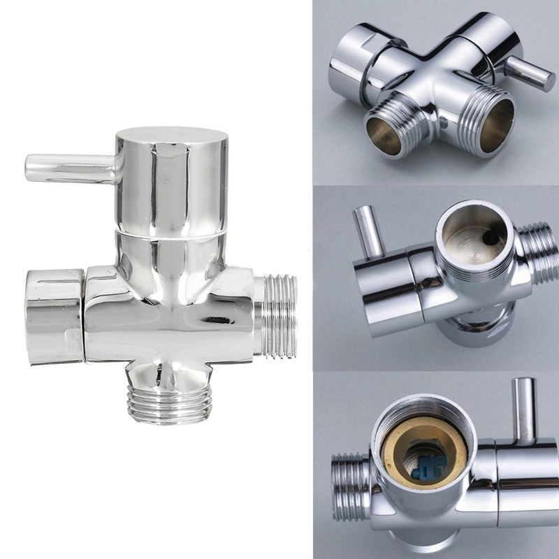 Brass 3-Ways Shower Head Diverter Valve Bathroom Toilet Sprayer Faucet T-adapter For Bathroom Accessories