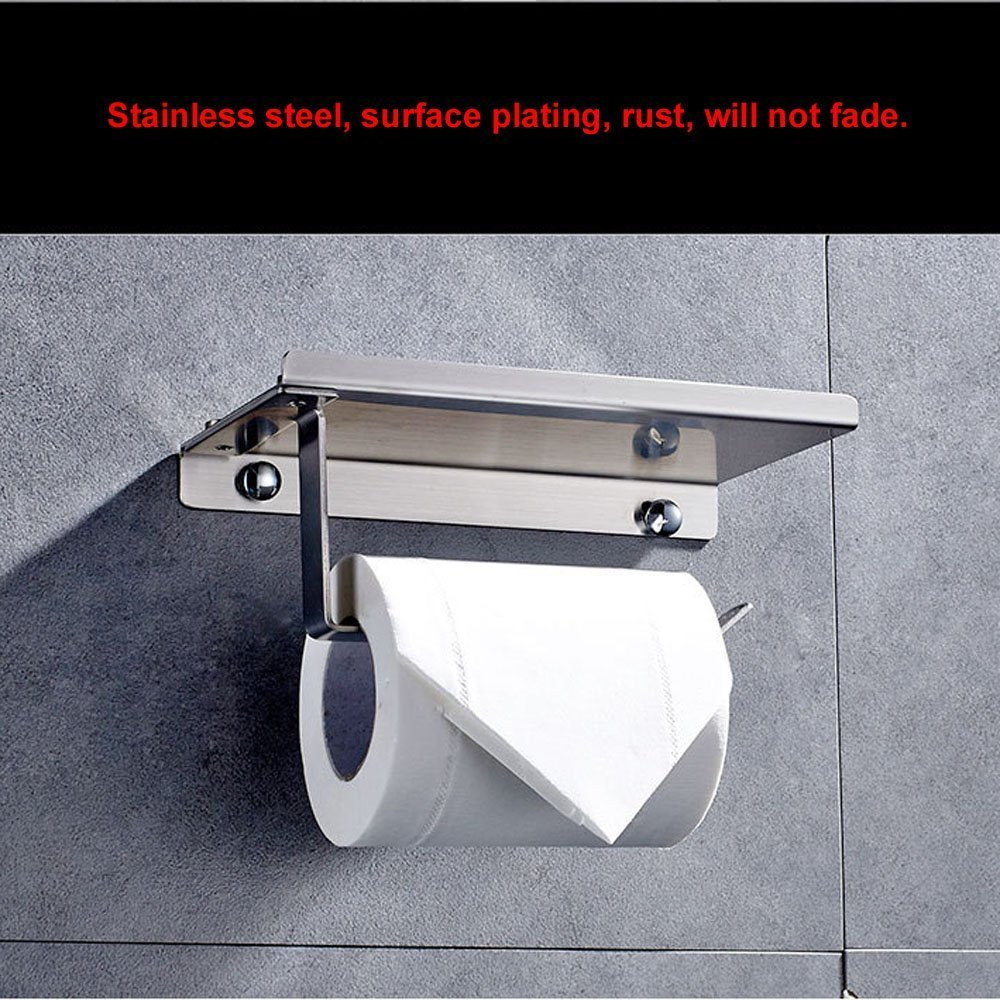 Beelee BA4021SS Toilet Paper Holder Tissue Paper Holder Stand for Bathroom Stainless Steel Wall Mount  with Phone Holder