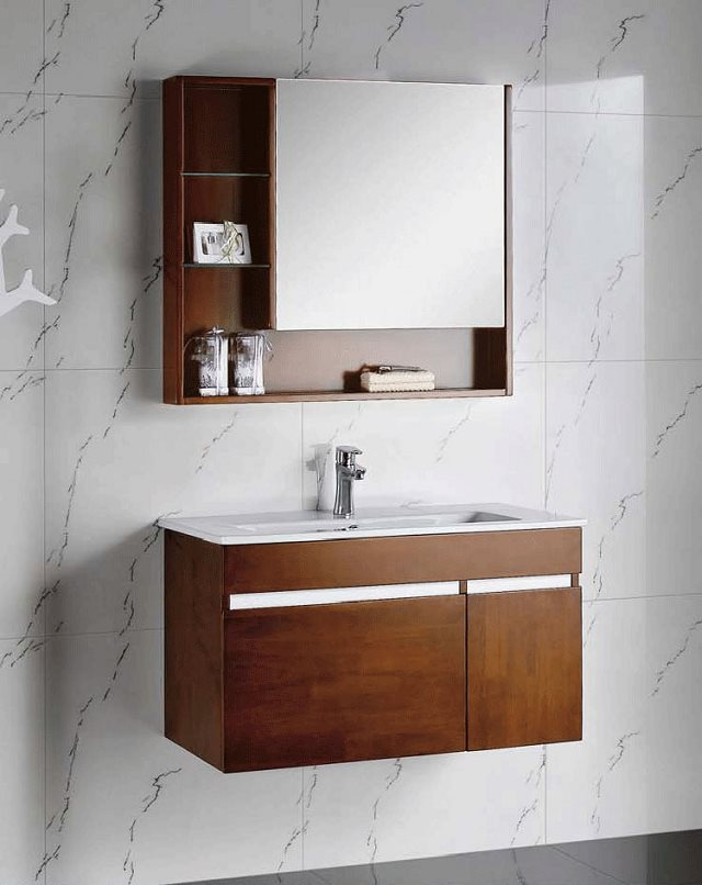 Bathroom cabinet wood grain vanity