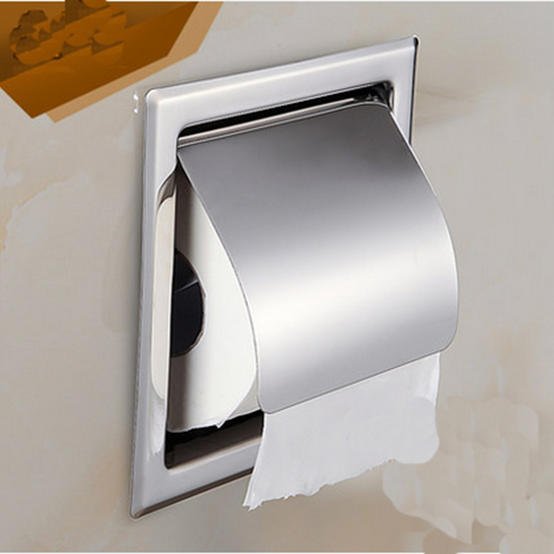 Wall Mounted Stainless Polish Chrome Bathroom Shower Tolite Paper Holder&Shelf