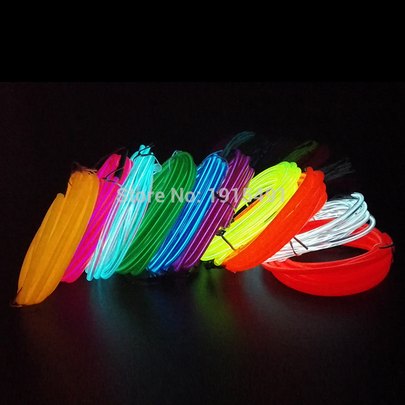Flexible Neon Light 5.0mm EL Wire Glowing Rope Tube 10 Colors Choice Not Include The Controller,For Auto Car interior Decoration