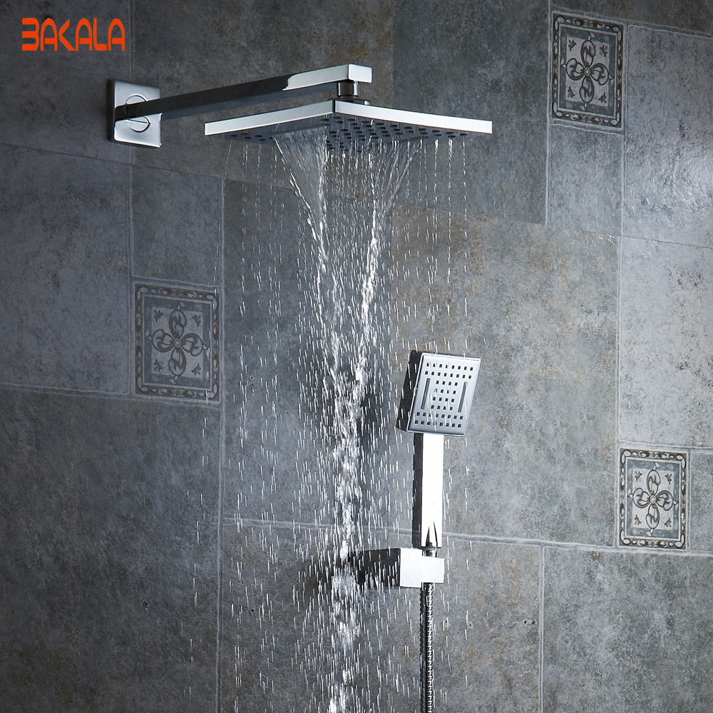 BAKALA  8 inch Bathroom rain  shower faucets White ABS head hand shower for Bath Showering System  3