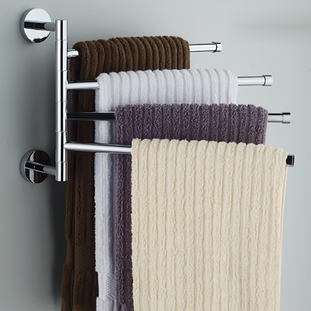 Four Bar Towel Hanging The Whole Solid Aluminum Towel Rack The Movable Rotating Bathroom Shelf