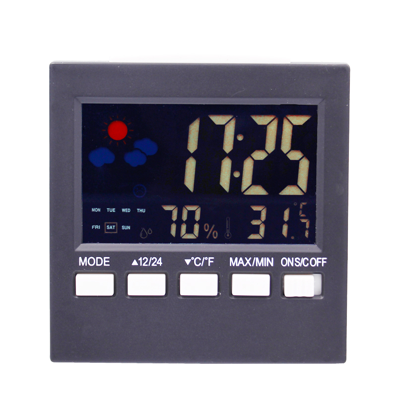 Multi-functional  Weather Station Clock Digital Indoor  Thermometer Hygrometer Calendar  Phase Colorful LCD Display  -10C ~ 61C