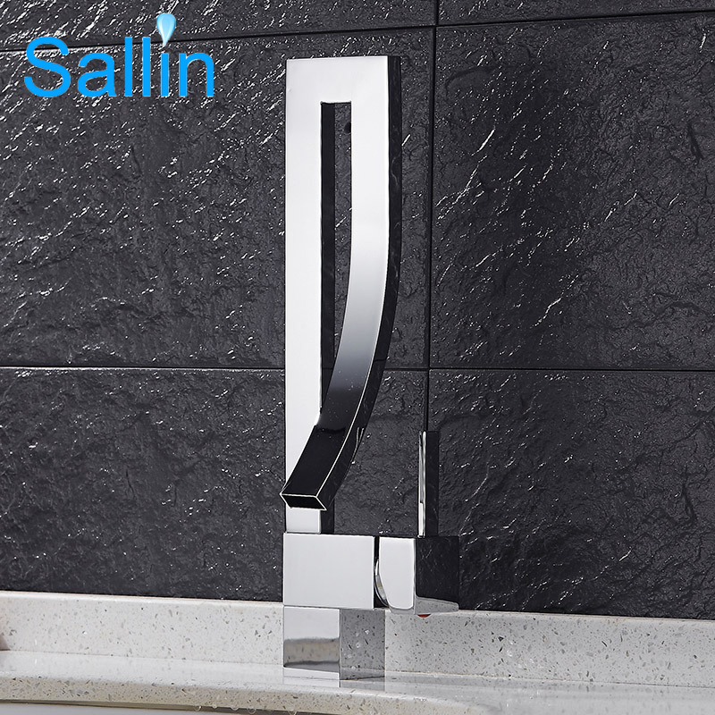 Sallin Black Brass Basin Faucet Single Handle Waterfall Basin Mixer Tap Hot And Cold Bathroom Faucet Sink Waterfall Faucet