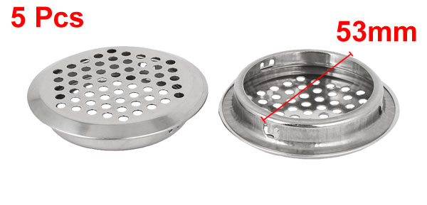 Kitchen 19mm| 25mm | 29mm | 35mm| 53mm Bottom Dia. Flat Mesh Hole | Round Mesh Hole Metal Air Vent Louver Silver Tone 5pcs