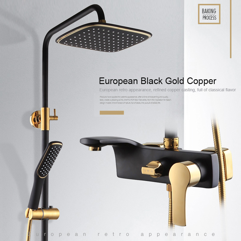2017 High Quality Solid Brass Luxury Rainfall Black paint Shower Bath Set Faucets Wall Mounted Shower Mixer Faucets  Br004
