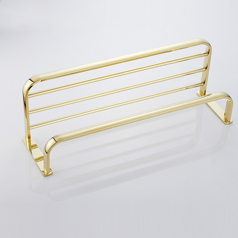 European Gold Copper Antique Bathroom Towel Rack Shelf Gold-plated Towel Holder Fixed Wall Mounted Bathroom Products