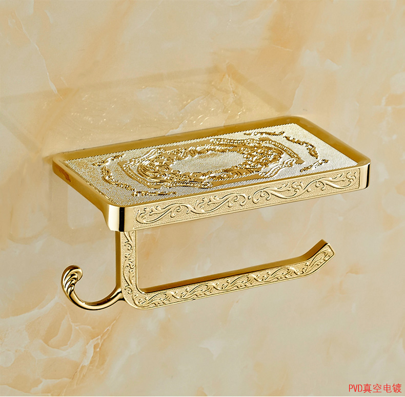 European Toilet Paper Holder with Phone Holder Rack Antique Waterproof Toilet Holder Gold Winder Box Mobile Phone Holder