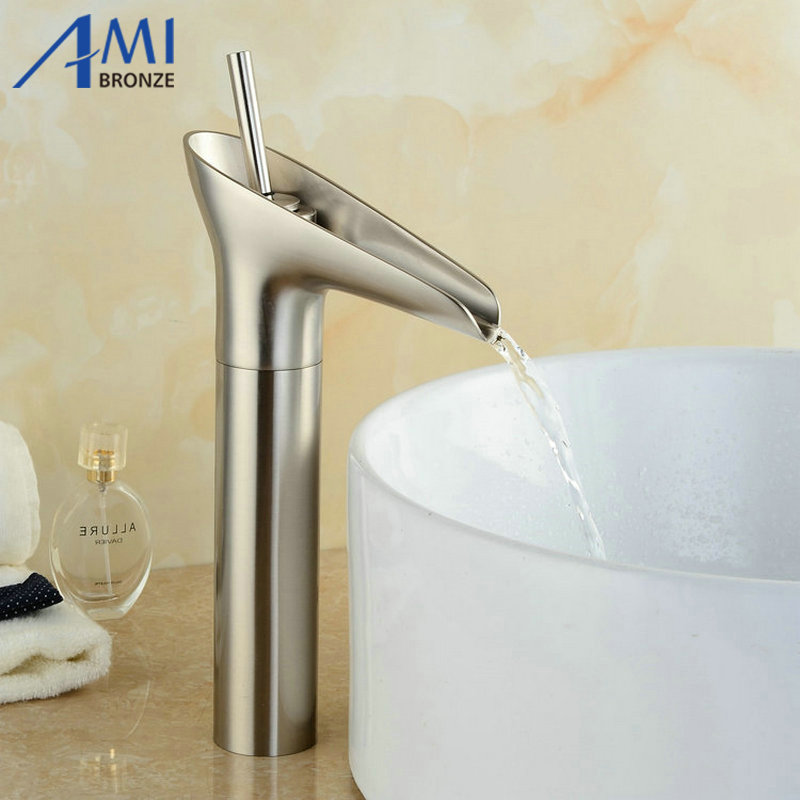 Newly Basin faucet Waterfall Nickel Brushed Bathroom Faucet  Basin Faucets Brass Mixer Tap Faucets