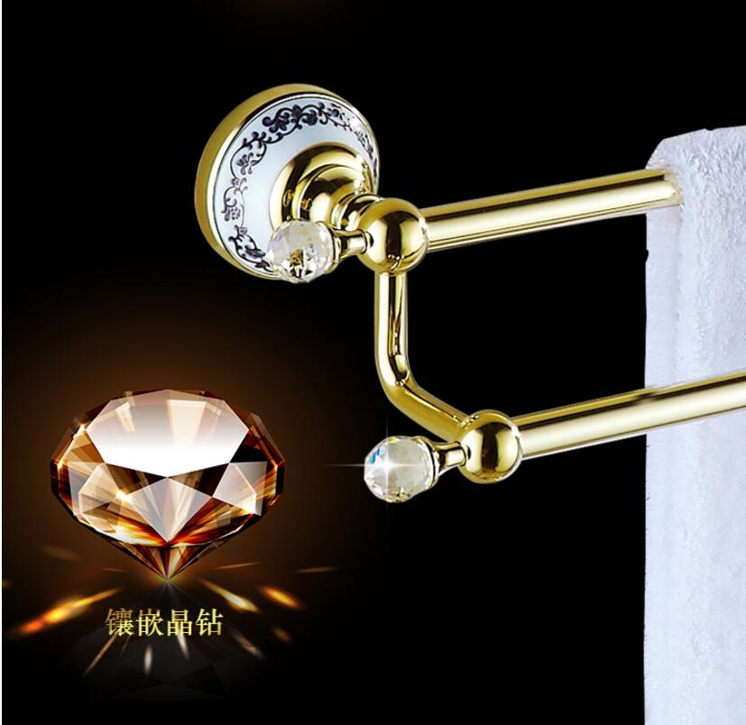62cm High Quality Brass & Crystal Golden Double Towel Bar,Towel Holder, Towel Rack, Bars Products,Bathroom Accessories