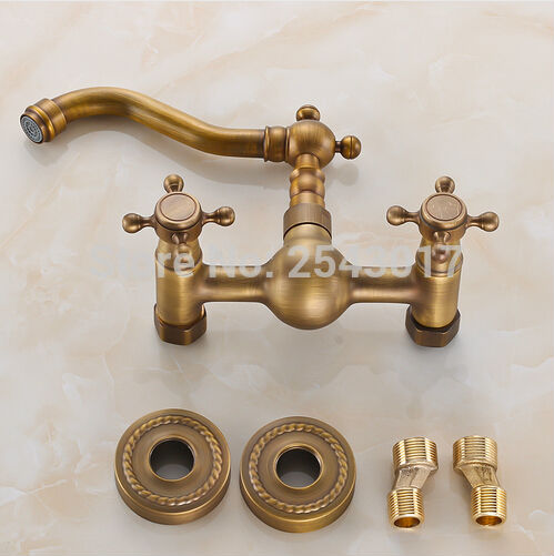 Antique Copper Double Handle Swivel Spout Kitchen Mixer Faucets Solid Brass Basin Mixer Faucet Crane ZR186