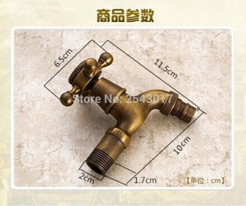 Cheap Antique Laundry Faucet High Quality Solid Brass Washing Machine Cold Only Taps Antique Copper Wall Mounted ZR197