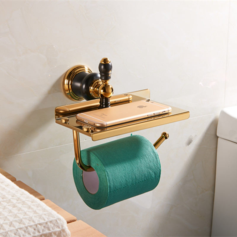 Luxury golden paper holder with plate holder Brass Golden Finished Bathroom paper rack shelf wall toilet paper Holder,Towel bar