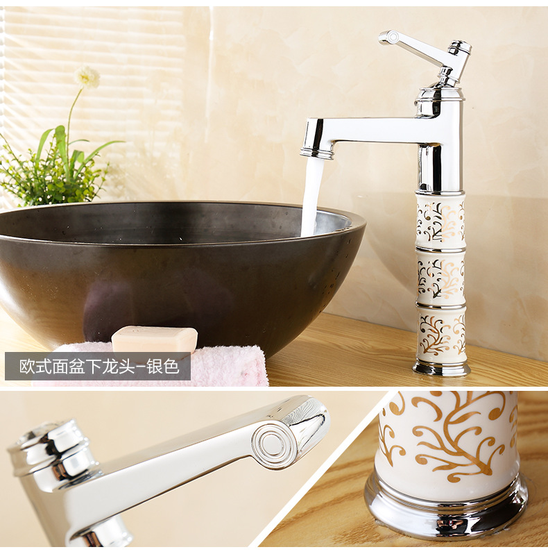 European style Rose golden bathroom basin faucet with polished chrome hot cold bathroom basin sink mixer tap