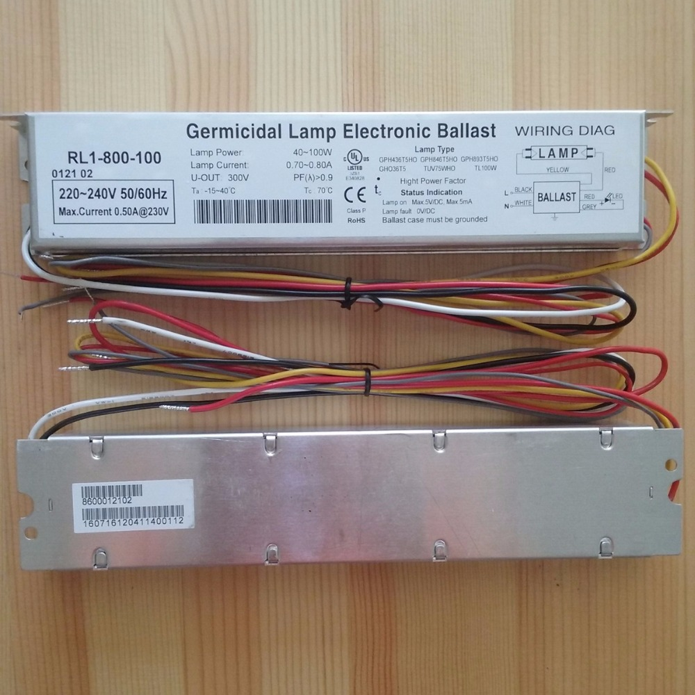 230V 95W Germicidal Lamp Electronic Ballasts UV Ballast IP64 RL1-800-100 UL CE Certificates for UV Lamps