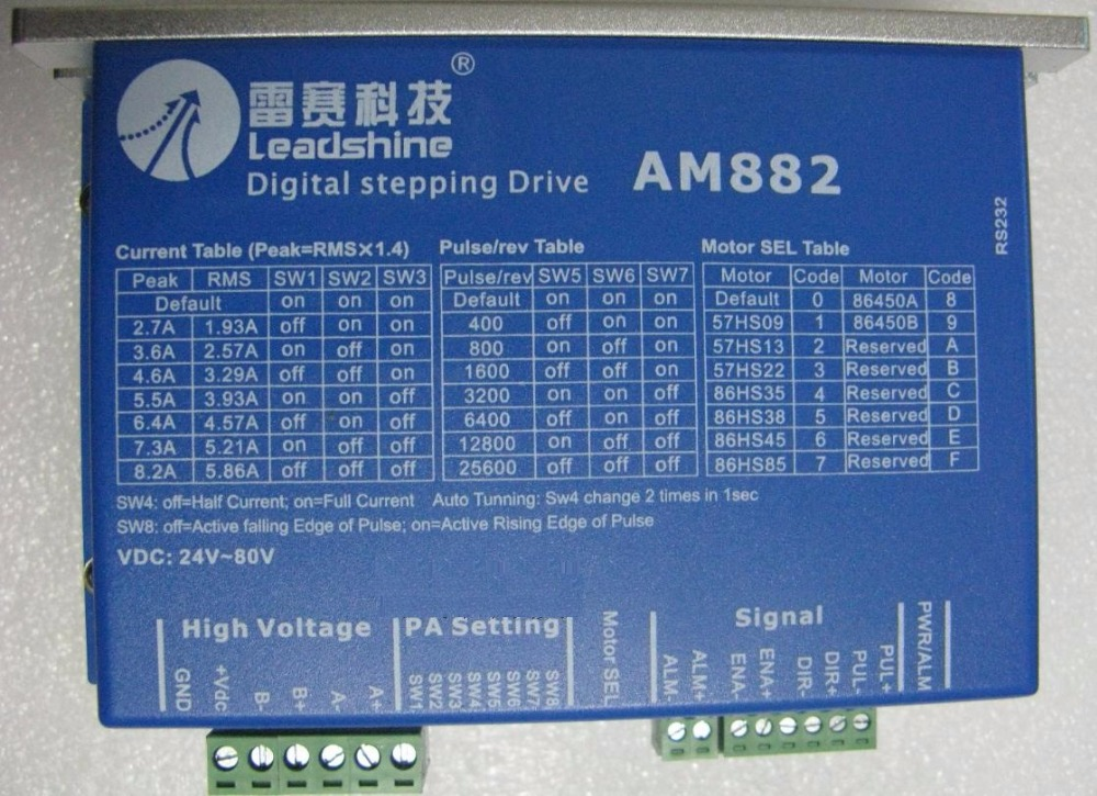 Leadshine AM882, Stepper Motor Driver with Sensorless Detection, Up to 80VDC / 8.2A / 512 microstep