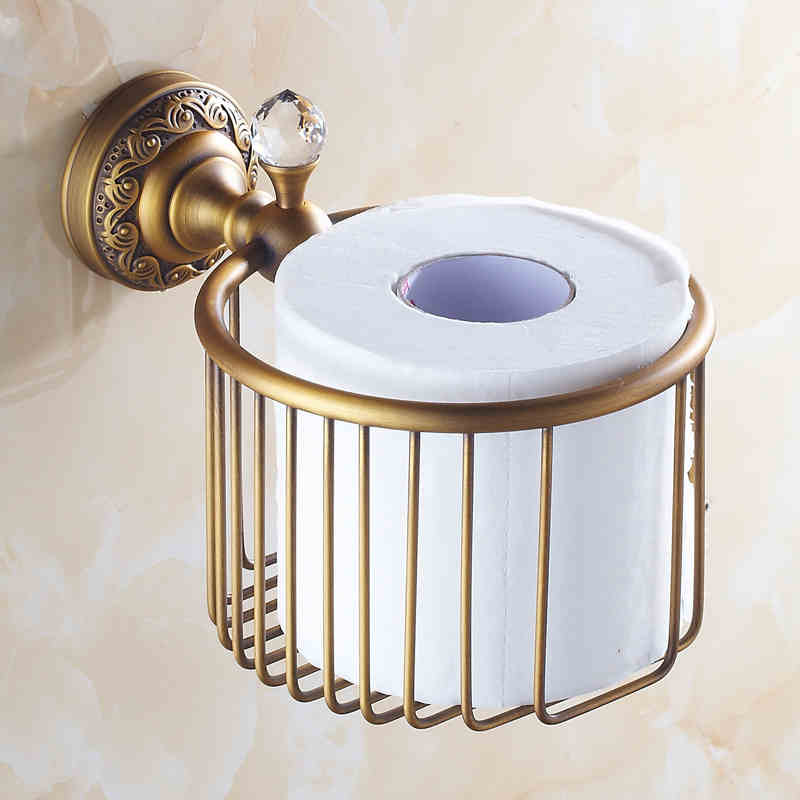 European Vintage Bathroom Accessories Antique Brass Toilet Roll Holder Paper Holder