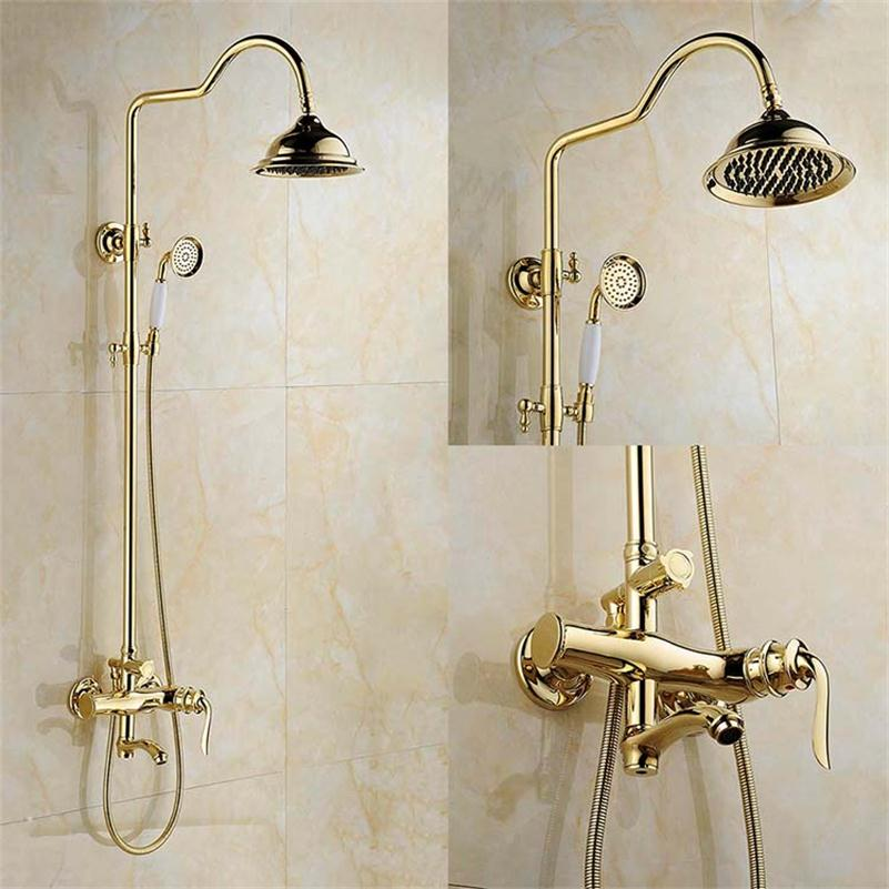 FLG Top-grade Gold Color Rainfall Shower Faucet Set Single Handle With Handheld golden waterfall shower set faucet