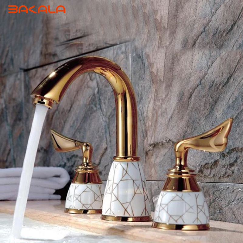 BAKALA  3pcs golden bathroom faucet Brass Faucet For Bathroom GZ-8202K