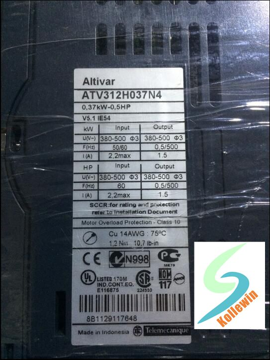 ATV312H037N4 VFD Inverter Input 3ph 380V 1.5A 0.37KW NEW IN BOX .