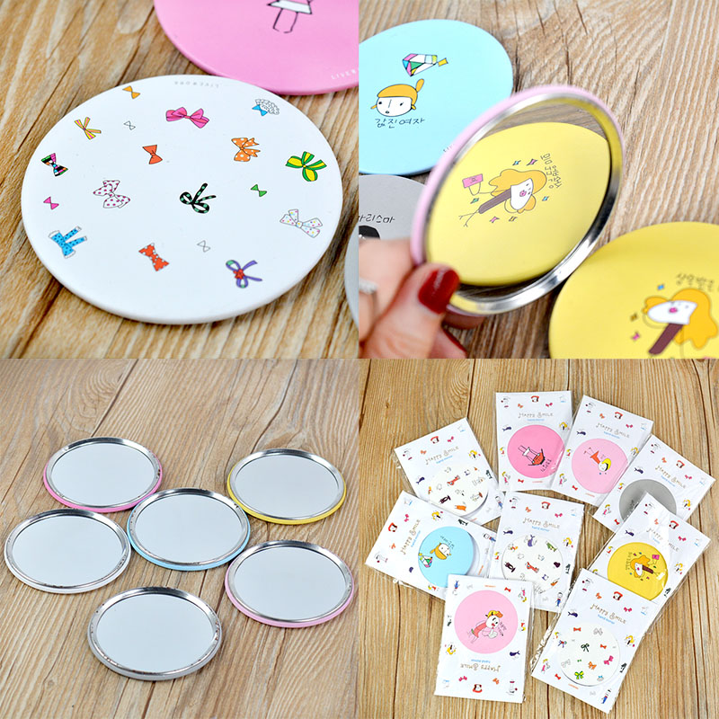 1Pcs Mini Women Lovely Hand-painted Portable Small Mirror Cosmetic Makeup Mirrors