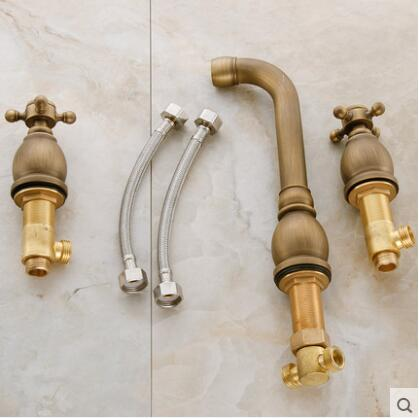 "8""  spread Cold&hot Basin Faucet Brass Antique Brass  Bathroom Sink Faucet 2 Handles Sink Mixer Tap 3pcs Deck Mounted water tap"