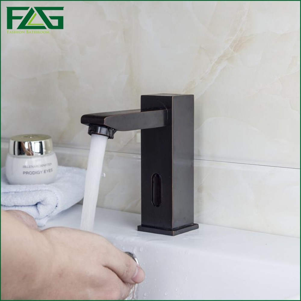 FLG Black Square Sensor Faucet Automatic Inflrared Sensor Hand Touch Free Tap Mixer Oil Rubbed Bronze Sink Mixer ,Battery Power
