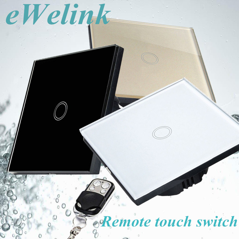 EU/UK Standard Remote control switch,1 Gang 1 Way Tempered Glass Panel Wall Light Switch+LED backlight Comaptible Broadlink Pro