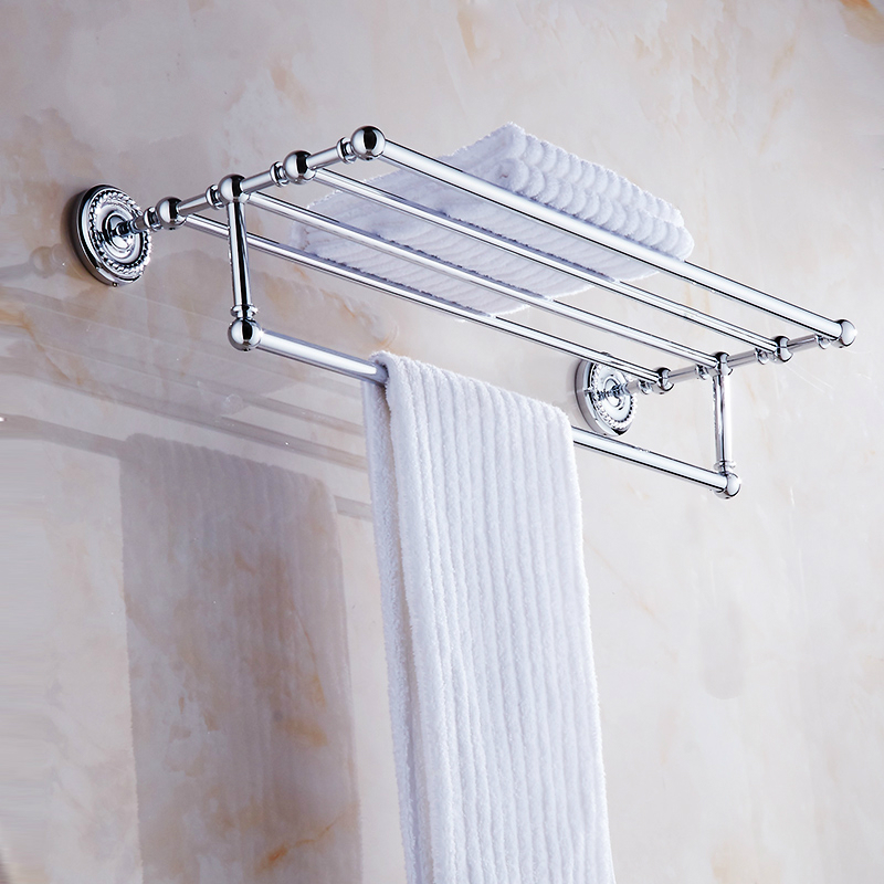 Antique Double Layer Chrome Towel Rail Wall Mount Brass Polished Towel Rack Towel Bar Bathroom Shelf Bathroom Products FC0