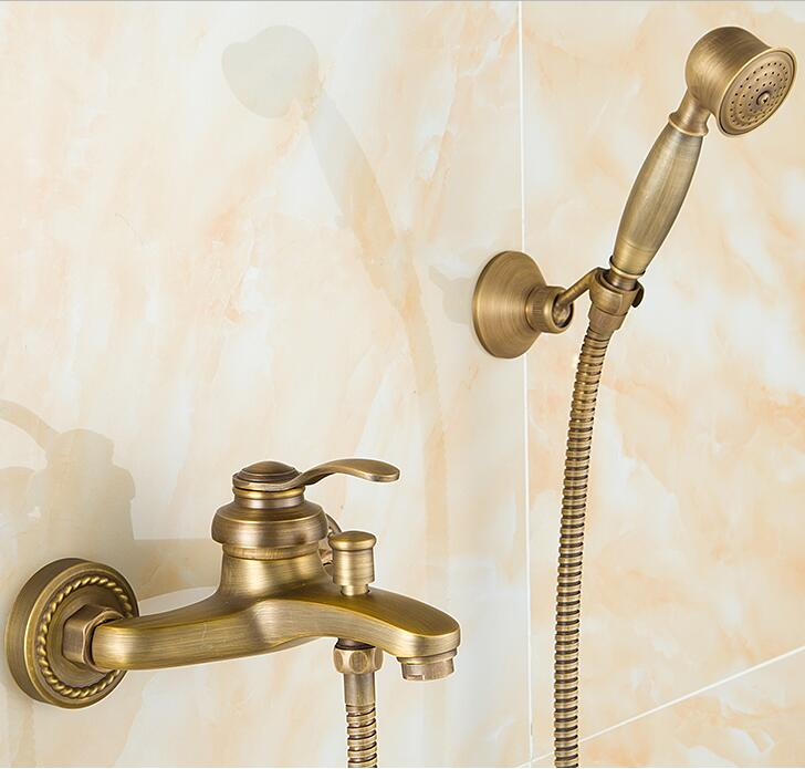 European Style Antique Retro Bathroom Shower Faucet Copper Brass Luxury Shower Set with Hand Shower Antique Bathtub Crane ZR006