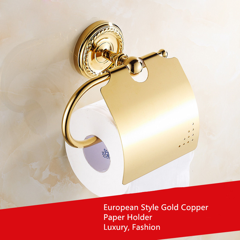 BOCHSBC Plated Gold Carved Tissue Holder European Bathroom Roll Holder Copper Towel Rack Golden Papier Toilette