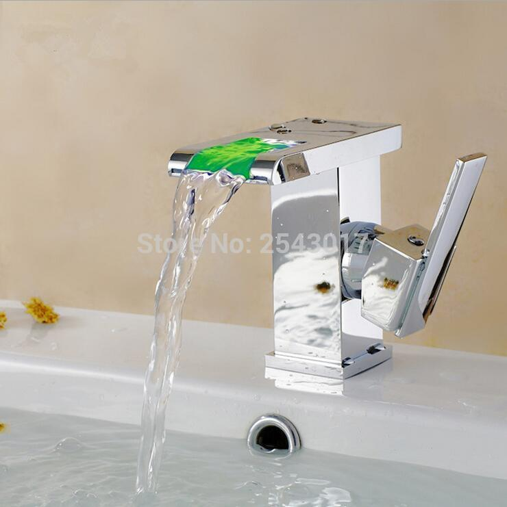 Bathroom LED Faucet no need battery Basin Sink Taps Temperature Control 3 Color Change Solid Brass Waterfall Faucet ZR627
