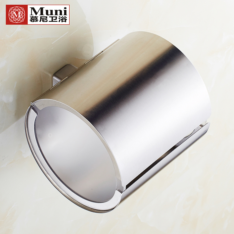 304 Stainless Steel Bathroom Towel Rack Cylinder Creative Roll Toilet Paper Holder Box