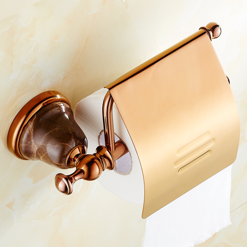 BOCHSBC Rose Gold Toilet Paper Holder European Marble Jade Base Paper Rack Copper Toilet Tissue Holder Bathroom Accessories