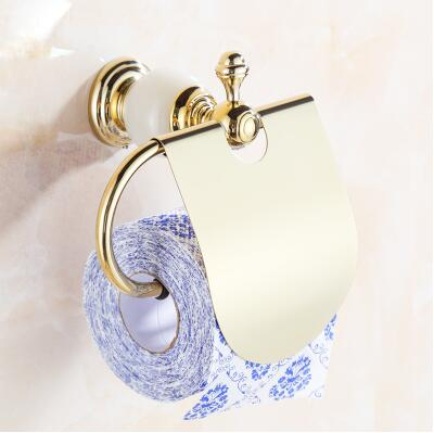 High Quality Gold Toilet Paper Holder ,Solid Brass and Jade Paper Roll Holder, New Tissue Holder, -Bathroom Accessories Products