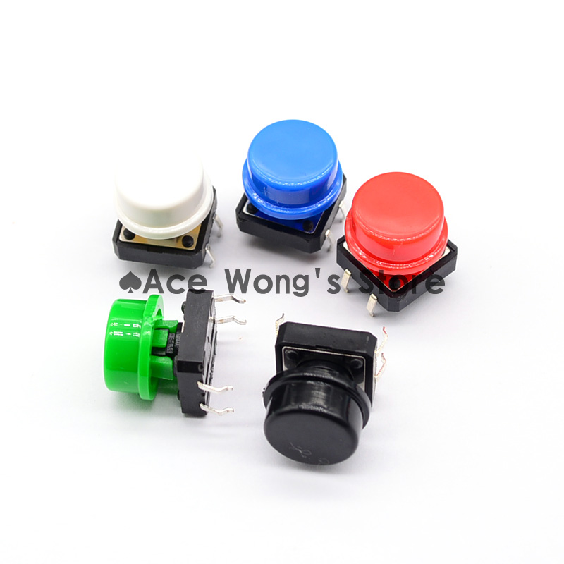 100PCS Black head Tactile Push Button Switch Momentary 12*12*7.3MM Micro switch button + (5 colors * 20pcs =100pcs  Tact Cap)