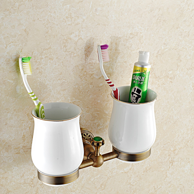 European Carved Antique Solid Brass Wall Mounted Toothbrush Holder Tumbler  Porcelain With Double Cup Bathroom Accessories ...