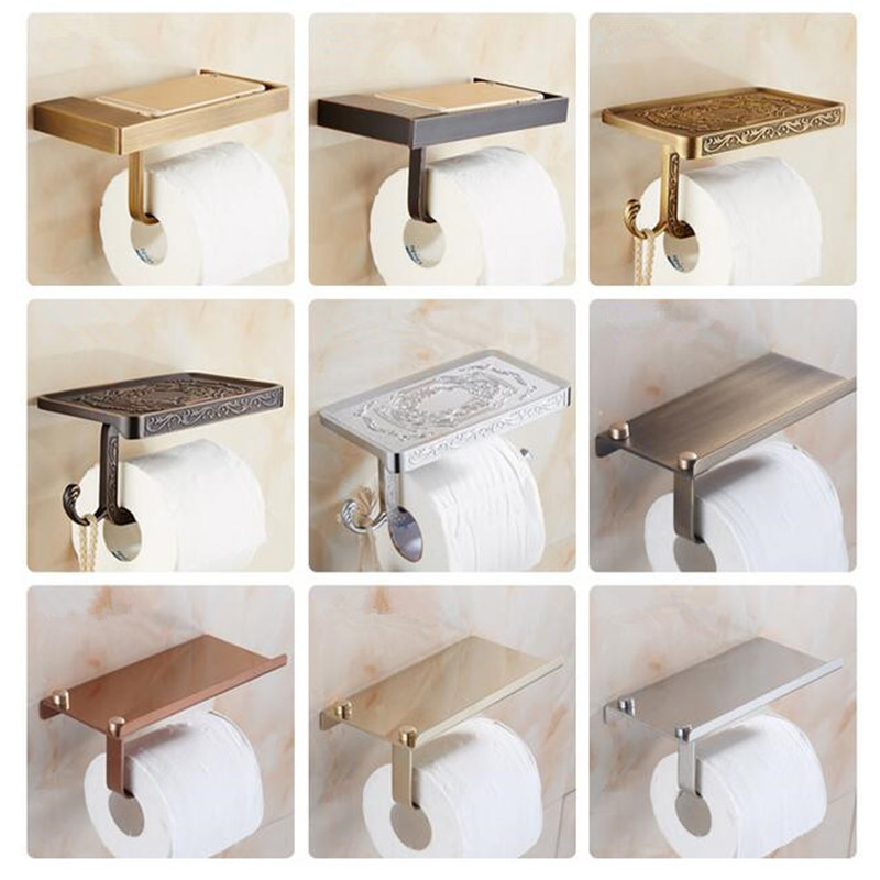 BOCHSBC Paper Holders Antique Copper Black Rose Gold Silver Roll Paper Mobile Rack European Zinc Alloy Toilet Roll Paper Holder